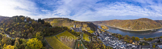 Germany, Bracharach, Aerial view of Stahleck Castle — Stock Photo