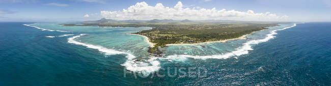Maurícia, Costa Leste, Oceano Índico, panorama de Trou d' Eau Douce, vista aérea — Fotografia de Stock