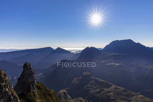 Reunion, Reunion National Park, View from Pito Maido to Cirque de Mafate in the morning — Stock Photo