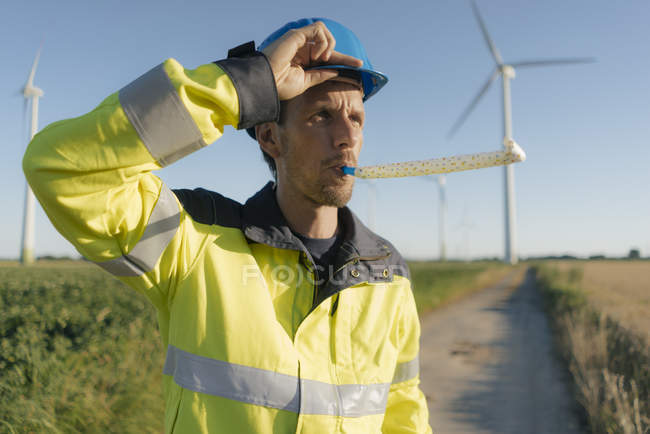 Ritratto di un ingegnere con ventilatore di partito in un parco eolico — Foto stock