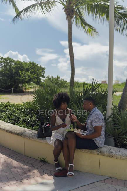 США, Флорида, Майами Бич, молодая пара с салатом и сотовым телефоном в парке — стоковое фото