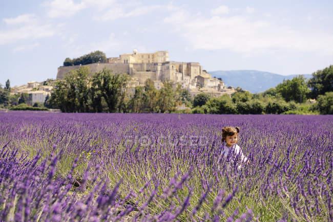 Франция, Гриньян, счастливая девочка в лавандовом поле — стоковое фото