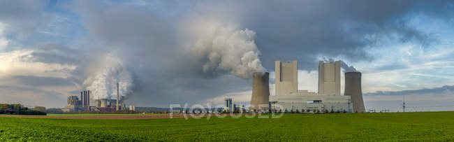 Germany, Grevenbroich, modern brown coal power stations, panoramic view — Stock Photo