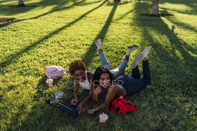 Two happy female friends relaxing in a park and using a tablet — Stock Photo