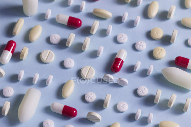 Close up of Rows of different drugs — Stock Photo