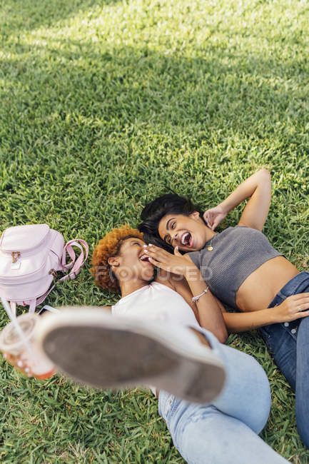 Two carefree female friends relaxing in a park — стокове фото