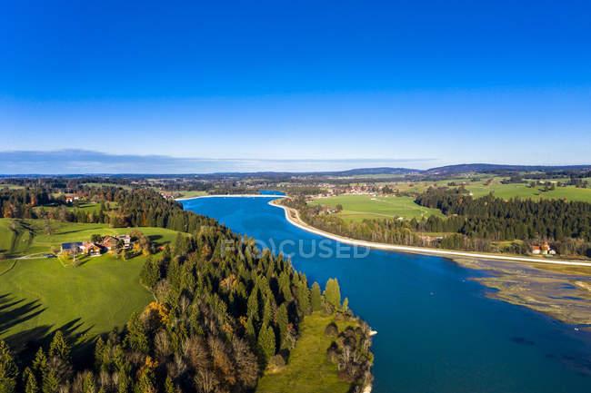 Alemania, Baviera, East Allgaeu, Fuessen, Prem, Vista aérea del embalse de Lech - foto de stock