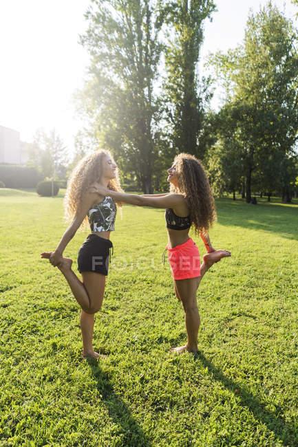 Сестры-близнецы занимаются спортом в парке — стоковое фото