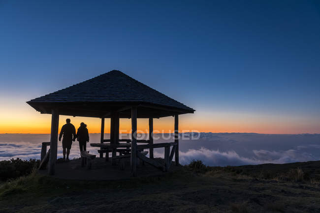 Reunion, Reunion National Park, Maido viewpoint, View from volcano Maido, picnic place to sea of clouds and sunset — Stock Photo