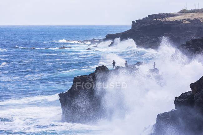 Riunione, West Coast, costa rocciosa a Souffleur — Foto stock