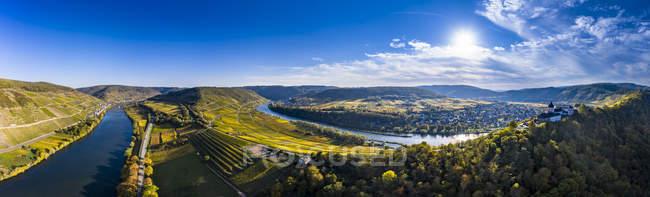 Germania, Renania-Palatinato, vigneti e Marienburg vicino a Puenderich, fiume Mosella — Foto stock