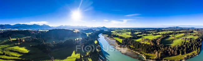 Germany, Bavaria, East Allgaeu, Fuessen, Prem, Aerial view of Lech reservoir — Stock Photo