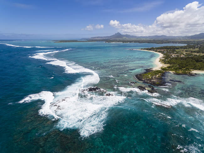 Mauritius, Ostküste, Indischer Ozean, trou d 'eau douce, Luftaufnahme — Stockfoto