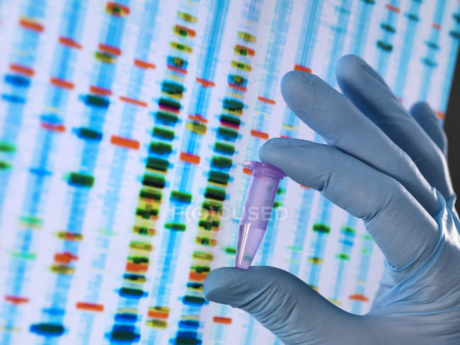 Scientist holding a DNA sample with the results on a computer sceeen in a laboratory — Stock Photo