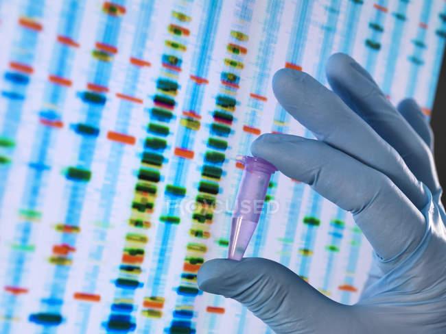 Cientista que prende uma amostra do ADN com os resultados em um sceeen do computador em um laboratório — Fotografia de Stock