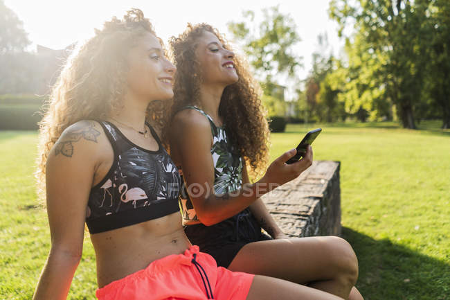 Smiling twin sisters sitting on a wall in a park — Stock Photo