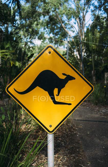 Australia, Magnetic Island, Kangaroo Animal Crossing Sign — Stock Photo