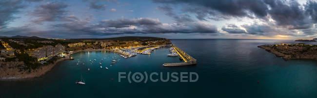 Mallorca, El Toro, Port Adriano at blue hour, aerial view — Stock Photo