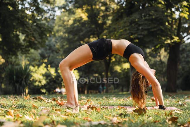 Fitte junge Frau praktiziert Yoga im Park — Stockfoto
