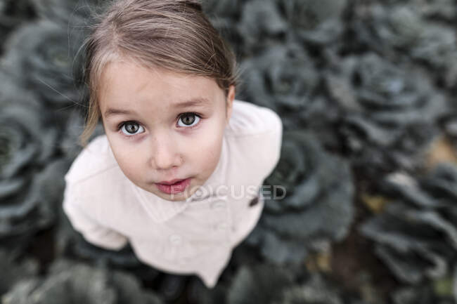 Portrait d'une fille debout sur un champ de choux — Photo de stock
