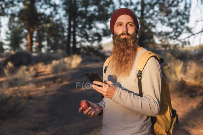 Estados Unidos, norte de California, hombre barbudo con teléfono celular y manzana en un bosque cerca del Parque Nacional Volcánico Lassen - foto de stock