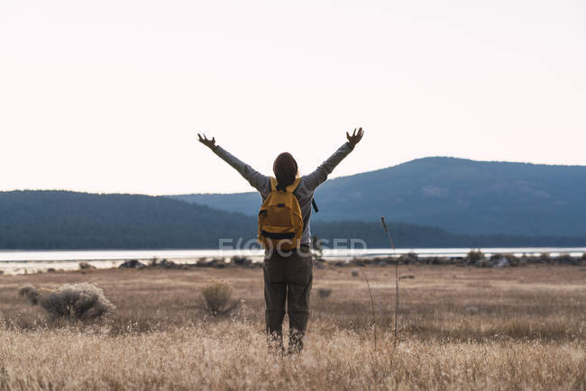 USA, North California, rear view of young man with raised arms on a hiking trip near Lassen Volcanic National Park — Stock Photo