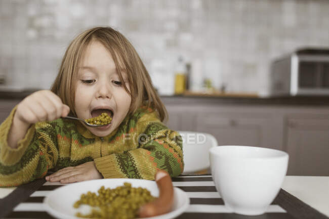 Portrait of little girl having lunch in the kitchen — Stock Photo