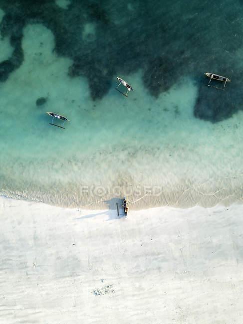Indonesia, Lombok, Veduta aerea della spiaggia di Tanjung Aan — Foto stock