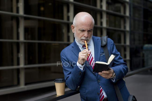 Senior businessman checking diary outdoors — Stock Photo