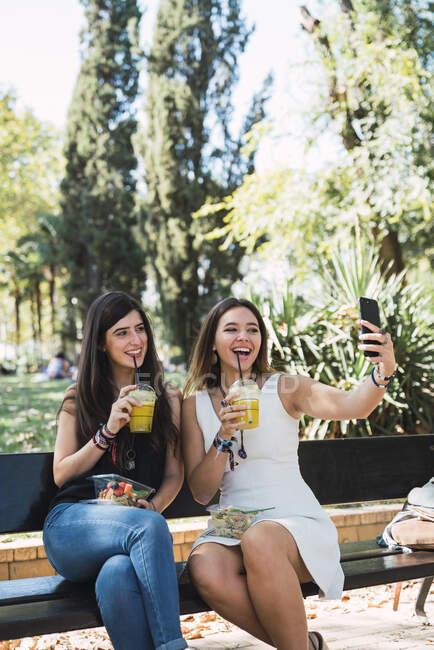 Дівчата сидять в парку, їдять салат, п