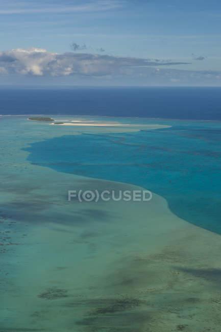 Kochinseln, rarotonga, Luftaufnahme der Aitutaki-Lagune — Stockfoto