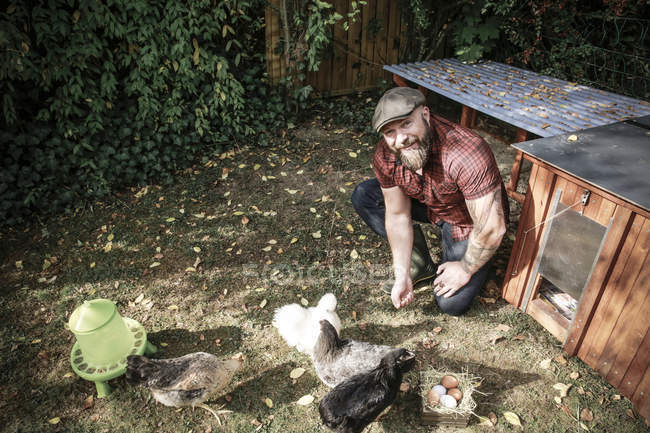 Bearded Man in own garden with range chickens, small wooden box with eggs on grass meadow — Stock Photo