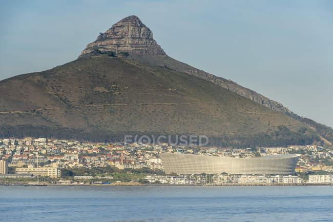 África do Sul, cidade do cabo, vista da cidade com cabeça de leão — Fotografia de Stock