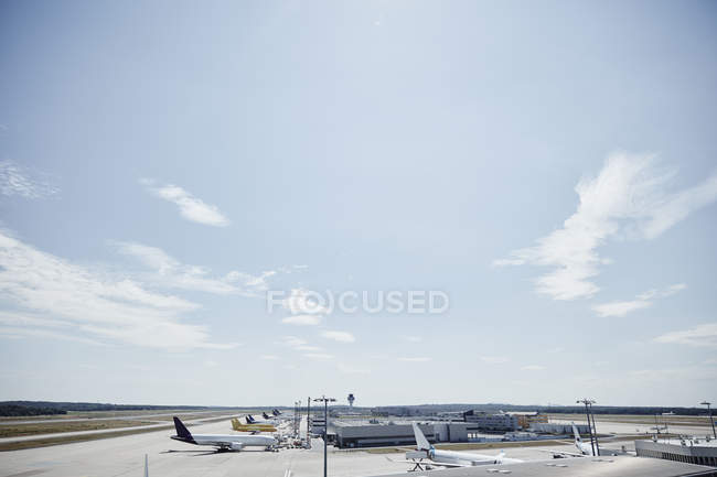 Germany, Cologne, planes at of airport — Stock Photo
