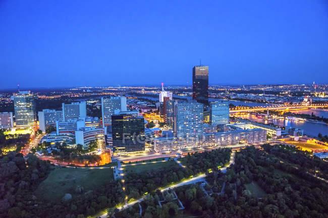 Austria, Vienna, Cityview, blue hour — Stock Photo