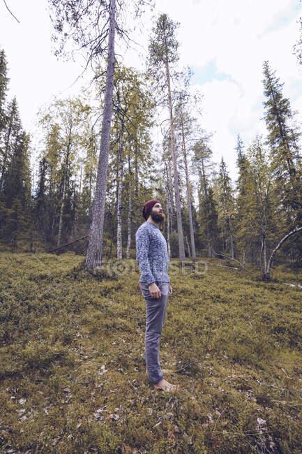 Швеция, земля, человек, стоящий на лесной опушке — стоковое фото