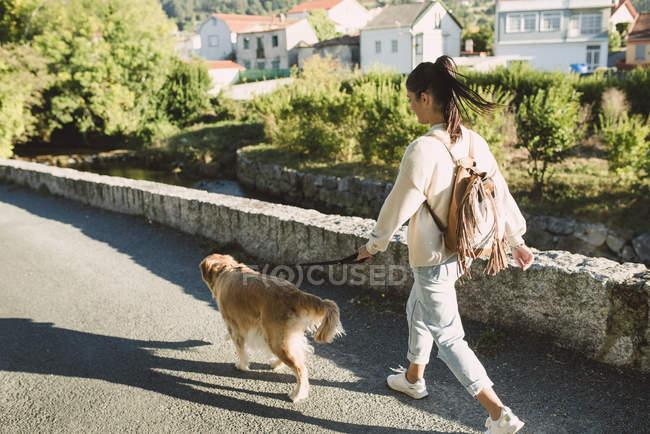 Donna che cammina con il suo cane golden retriever su una strada — Foto stock