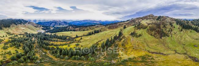 Німеччина, Баварія, Oberallgaeu, Алгайські Альпи, вид з повітря Ріедберг Горн, Панорама — стокове фото