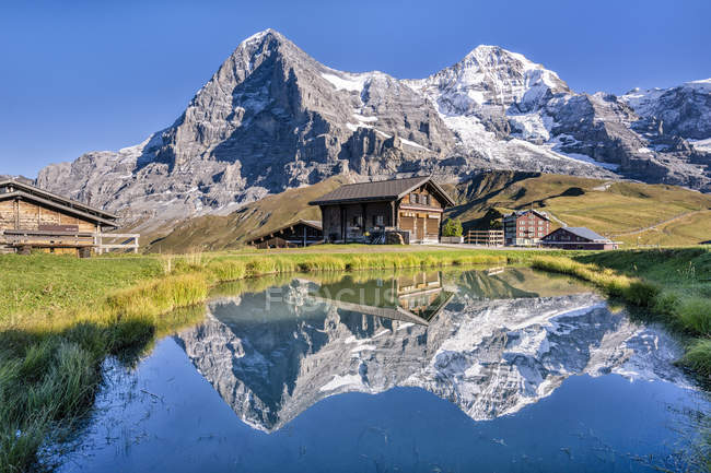 Schweiz, Berner Oberland, Berner Alpen, Kleine Scheidegg, Eiger, Moench und Jungfrau — Stockfoto