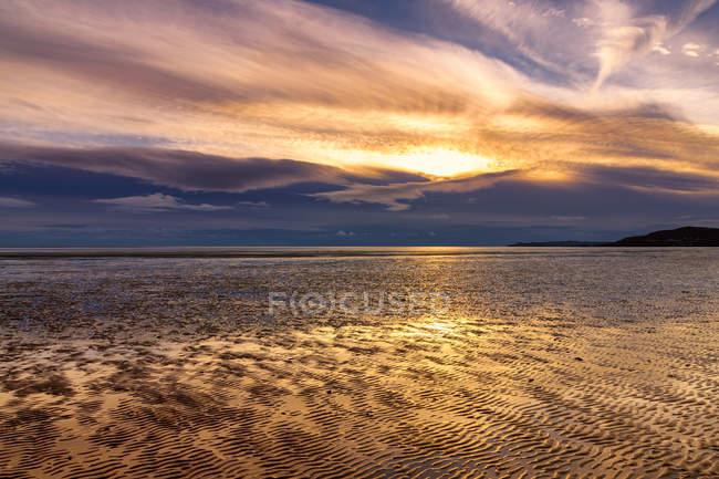 Gran Bretagna, Scozia, Solway Firth, distese di fango, tramonto — Foto stock