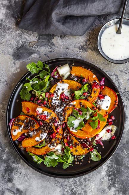 Ensalada de otoño con calabaza frita, lentejas, radicchio, semillas de granada, ensalada de hojas y perejil con aderezo - foto de stock