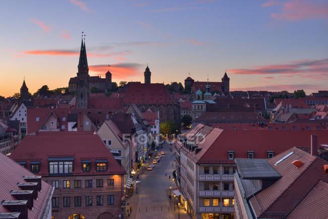 Skyline of Nuremberg at sunset, Bavaria, Middle Franconia, Germany — Stock Photo