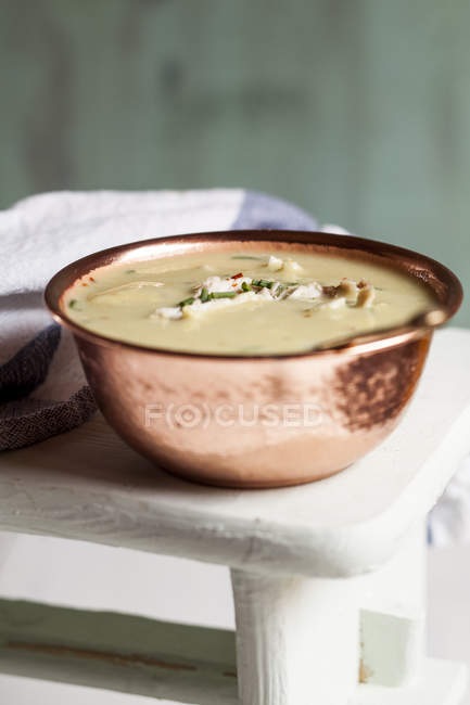 Cream of chicken soup, close up — Stock Photo
