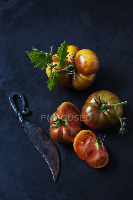Tomates de ternera enteros y en rodajas 'Chocolate Stripes' y cuchillo en terreno oscuro - foto de stock