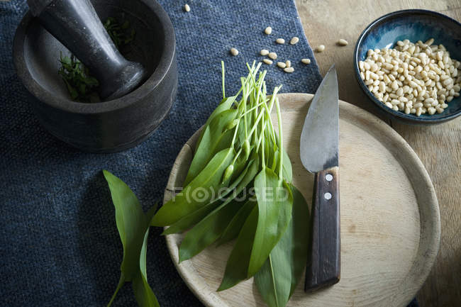 Ramson and knife on wooden board, mortar and bowl of pine nuts — Stock Photo