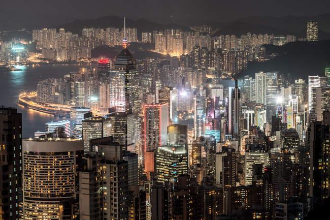 Hong Kong, Causeway Bay, cityscape at night — Stock Photo