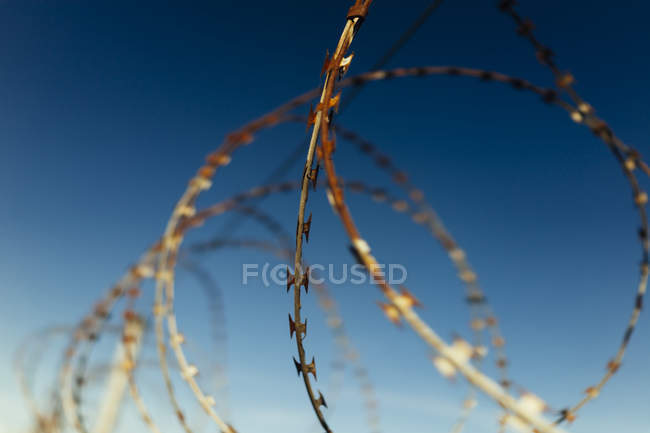 Part of barbed wire fence against blue sky — Stock Photo