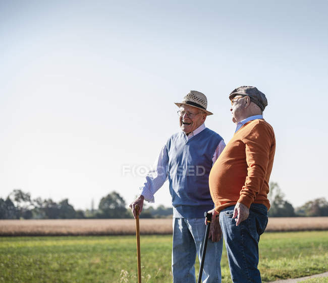 Two old friends standing in the fields, talking about old times — Stock Photo