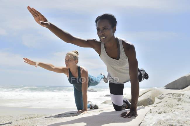 Две женщины занимаются фитнесом на пляже — стоковое фото