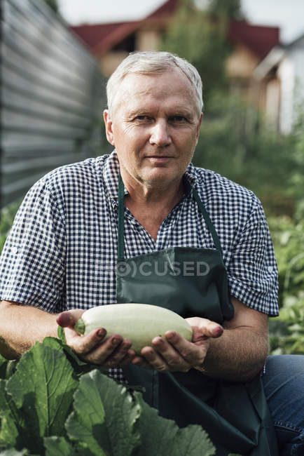 Handsome Gardener holding zucchini — Stock Photo